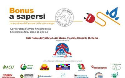 Il 6 febbraio la conferenza stampa finale del progetto Bonus a Sapersi,