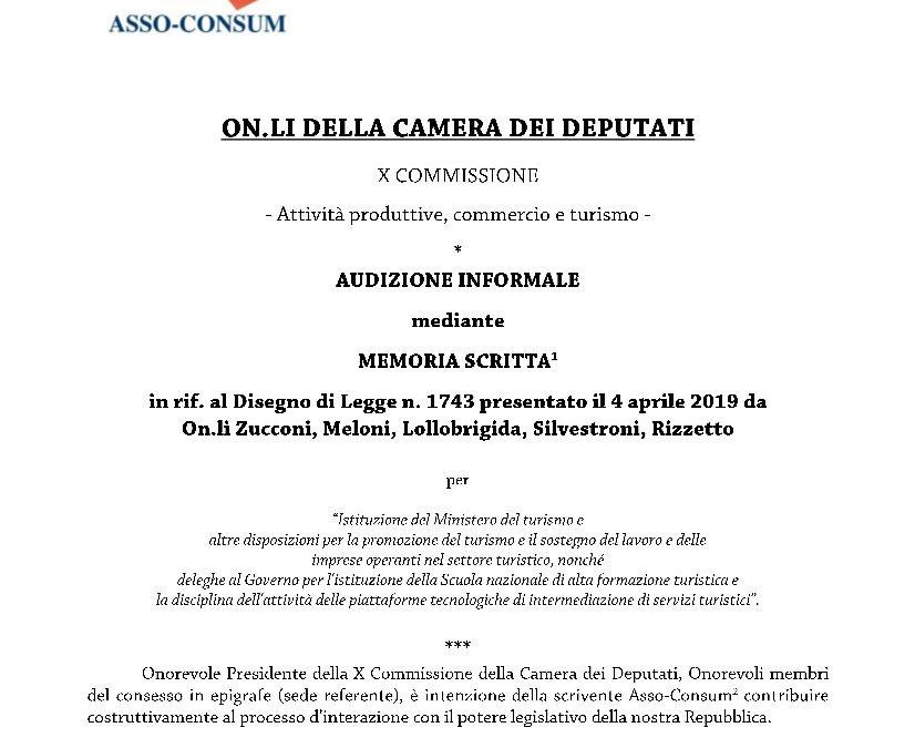 Memoria  scritta per AUDIZIONE CAMERA DEPUTATI – dell'Avv. Angelo LUCARELLA incaricato quale esperto dalla Presidenza di   ASSOCONSUM